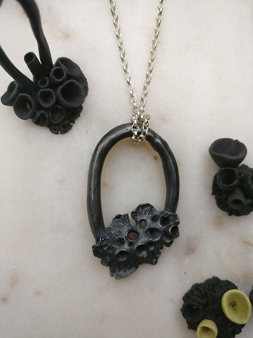 Large Oxidised Leafy Lichen Loop Necklace