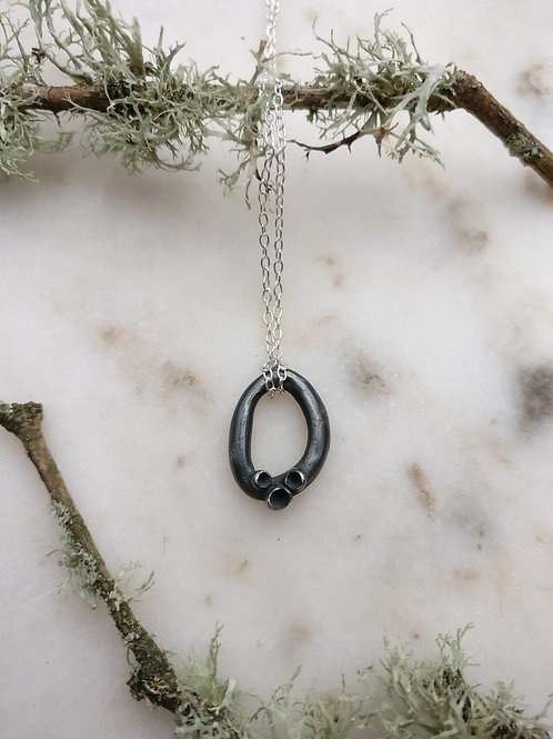 Mini Oxidised Cupped Lichen Loop Necklace