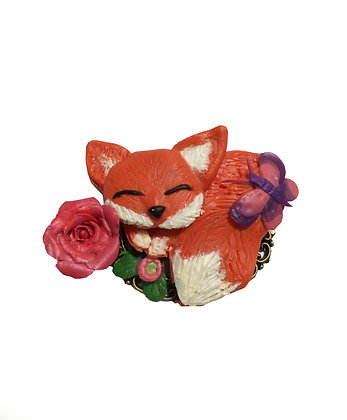 Fox and Pink Rose