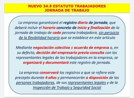 Regulación del control de la jornada laboral que entra en vigor el día 12 de mayo de 2019.