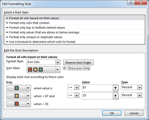 Excel Conditional Formatting Icon Sets Settings