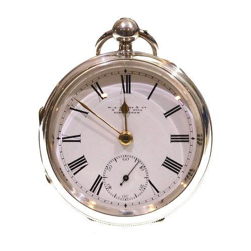 1900 Silver Going Barrel Lever Pocket Watch
