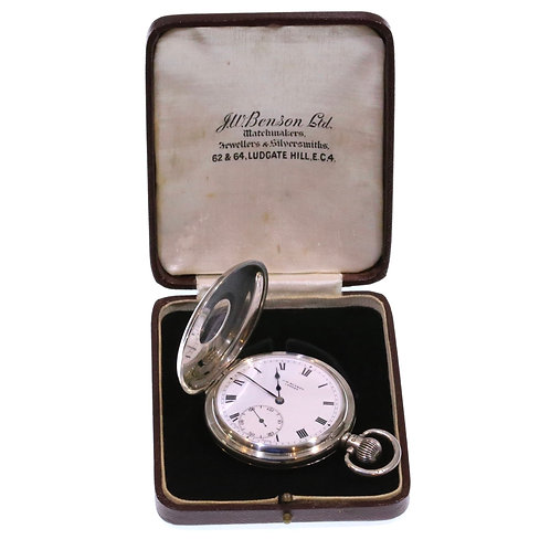 1939 J W Benson Keyless Half Hunter Pocket Watch