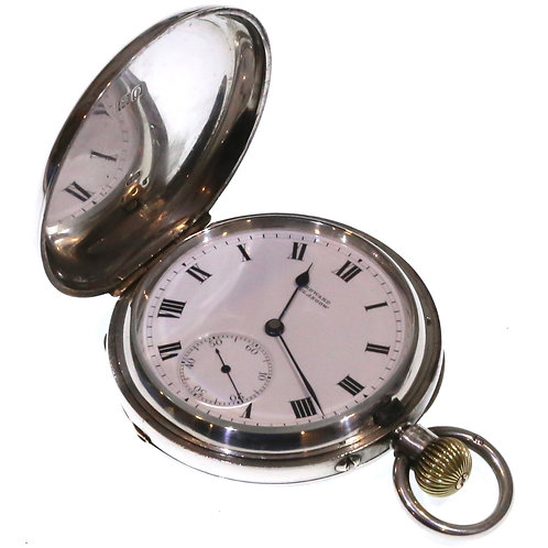 1909 Keyless full Hunter Silver Pocket Watch 19 Jewels