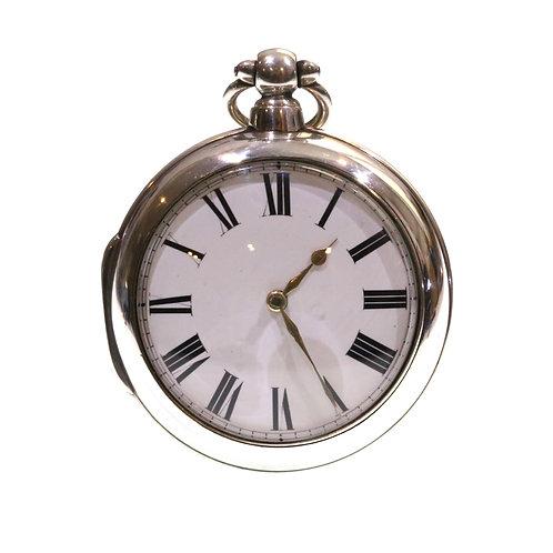 1834 Pair Cased Silver Fusee Verge Pocket Watch