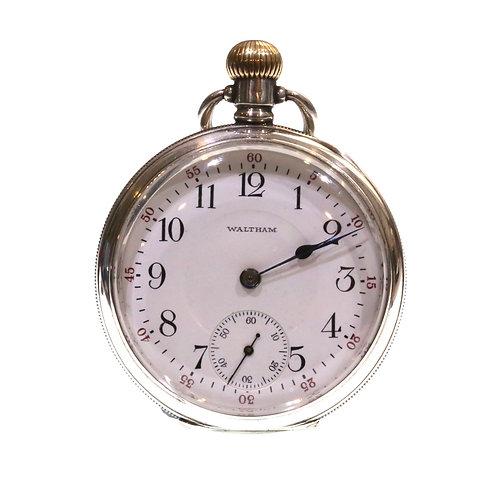1911 Waltham Keyless Lever Silver Pocket Watch