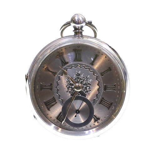 1889 Open Face Pocket Watch Silver Fusee