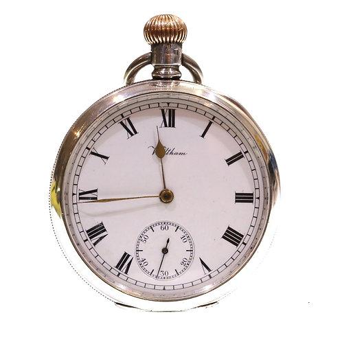 1907 Waltham Keyless Lever Silver Pocket Watch