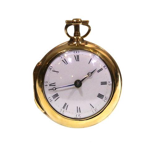 C1770 Pair Cased Gilt Fusee Verge Pocket Watch