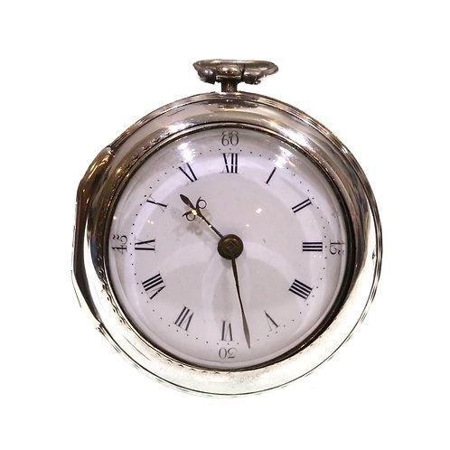 1762 Pair Cased Silver Fusee Verge Pocket Watch