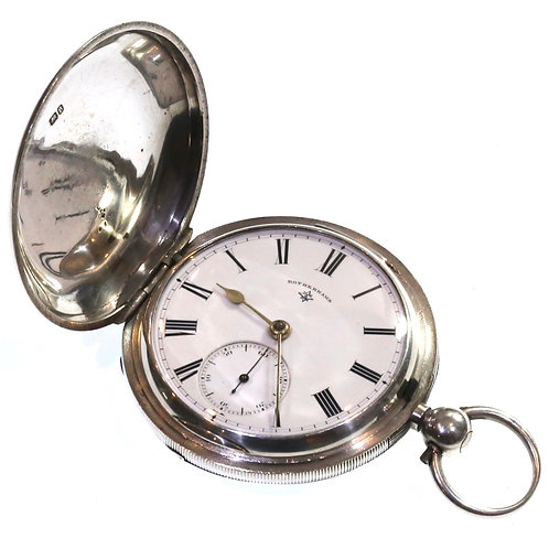 1892 Full Hunter Pocket Watch Silver Going Barrel Lever
