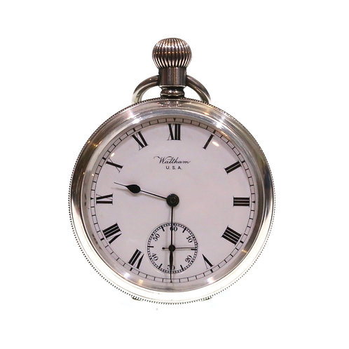 1919 Waltham Keyless Lever Silver Pocket Watch