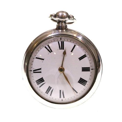 1821 Pair Cased Silver Fusee Verge Pocket Watch
