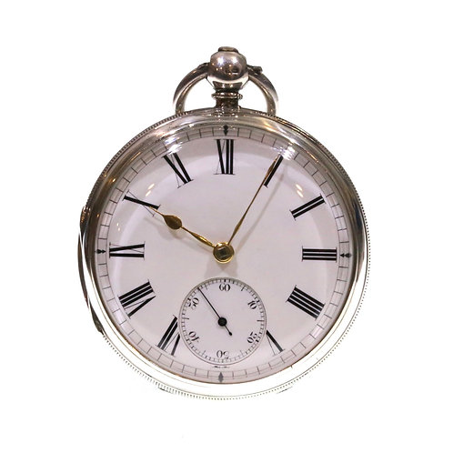 1883 Open Face Pocket Watch Silver Fusee Lever