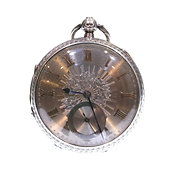 1890 Open Face Pocket Watch Silver Fusee