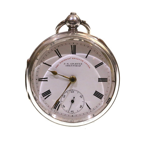 1899 J.G. Graves Silver Lever Pocket Watch