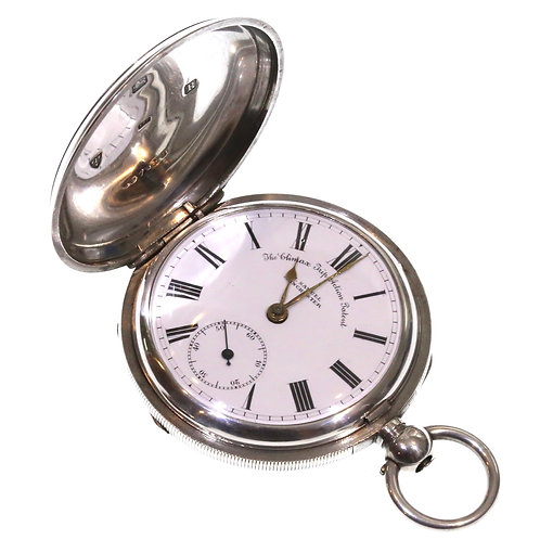 1900 Full Hunter Pocket Watch Silver Going Barrel Lever