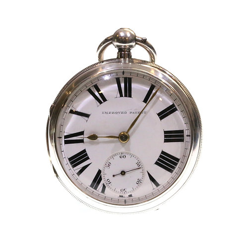 1890 Open Face Pocket Watch Silver Fusee Lever