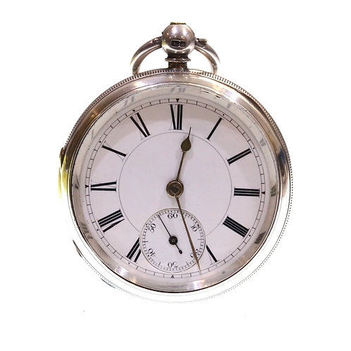 1886 Open Face Pocket Watch Silver Fusee Lever