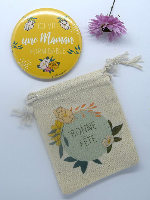 Aimant (58mm) + pochette «Maman formidable»
