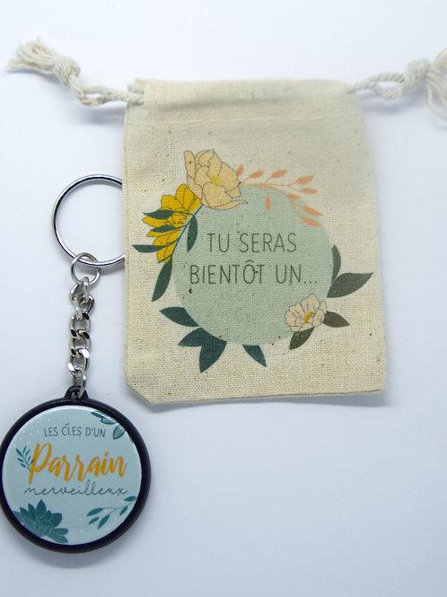 Porte clé Parrain merveilleux + pochette coton