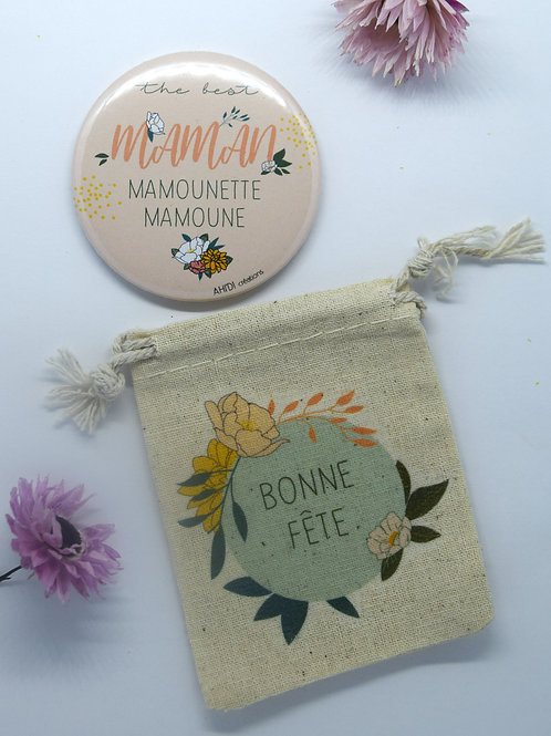 Aimant (58mm) + pochette «The best Maman»