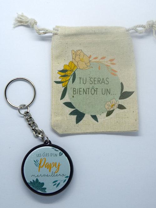 Porte clé Papy merveilleux + pochette coton