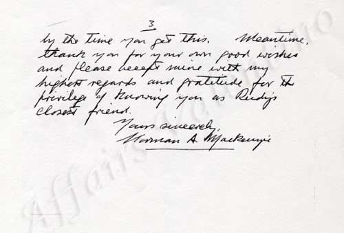 Letter from Norman MacKenzie, page 3