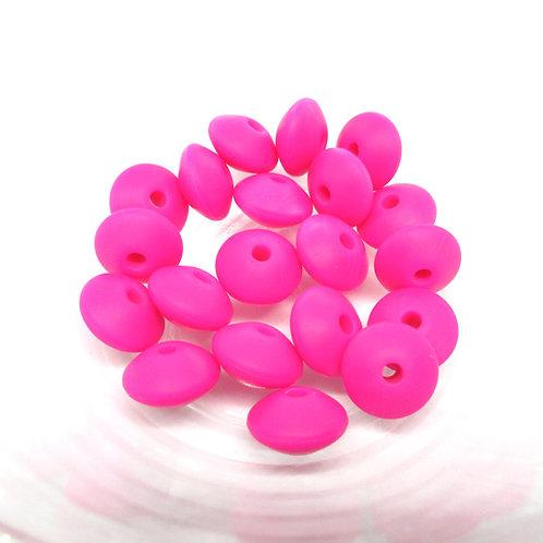 perles plates silicone fuchsia