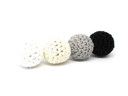 4 Perles en Bois et Crochet 20mm Alpaga
