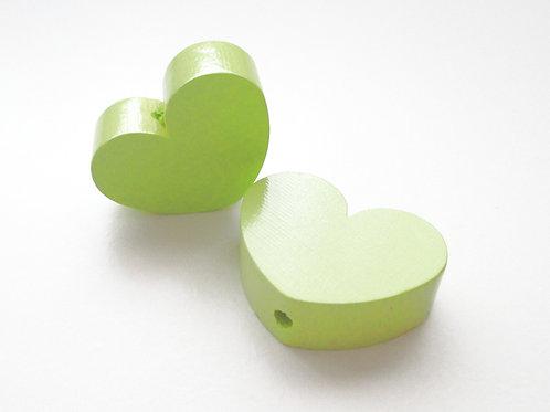 Perle en Bois Grand Coeur Vert Anis
