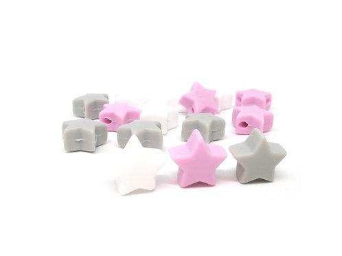 10 Perles Petite Etoile Silicone Blanc Mauve Gris Clair