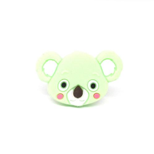 Perle Tête de Koala Silicone Vert Tendre