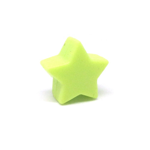 Perle Petite Etoile Silicone Vert Anis