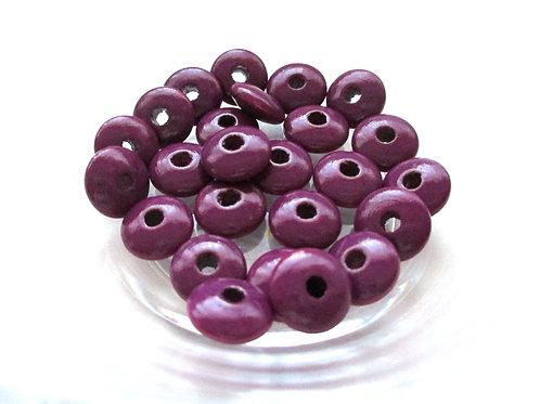 25 Perles en Bois Plates Prune
