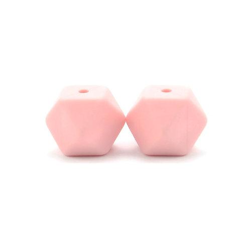 2 Perles Silicone Hexagonales 14mm Rose Quartz