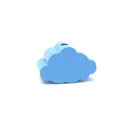 Perle en Bois Petit Nuage Bleu Ciel