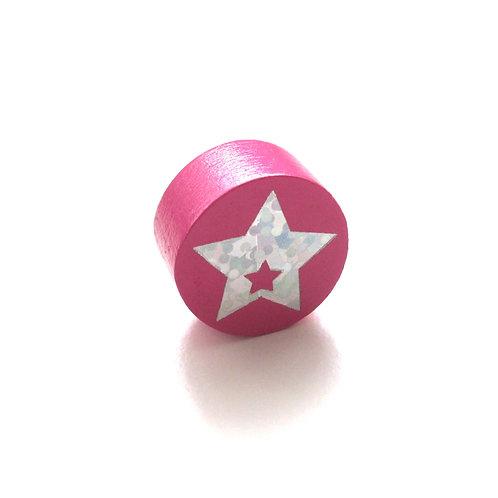 Perle en Bois 20mm Etoile Glitter Rose Foncé