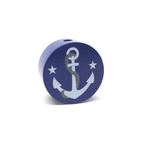 Perle en Bois Ancre Bleu Marine