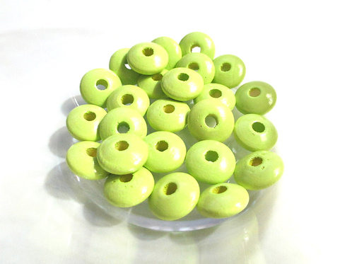 50 Perles en Bois Plates Vert Anis