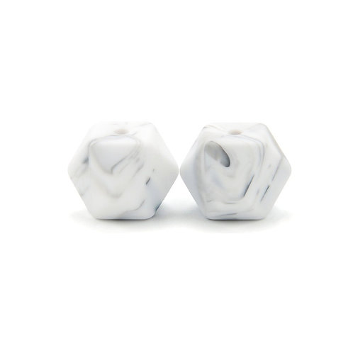 2 Perles Silicone Hexagonales 14mm Blanc Marbre