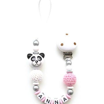 Attache tetine panda bois