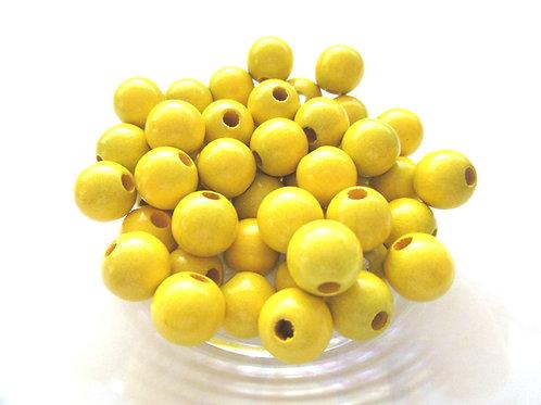 25 Perles en Bois 8mm Jaune