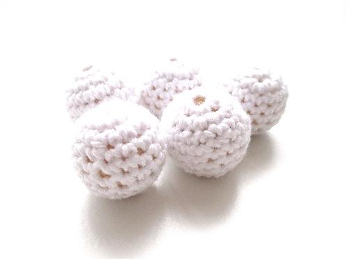 Lot de 5 Perles en Bois et Crochet 20mm Blanc