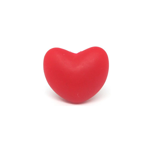 Perle Coeur Silicone Rouge