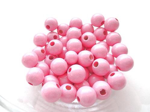 50 Perles en Bois 8mm Rose
