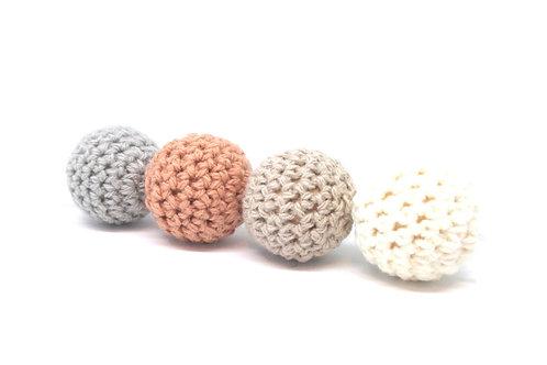 4 Perles en Bois et Crochet 20mm Sahara