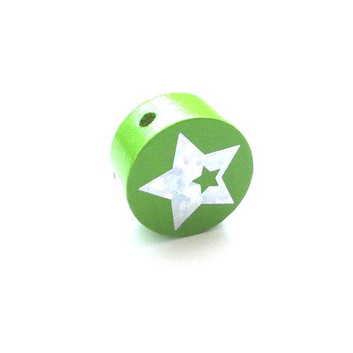 Perle en Bois 20mm Etoile Glitter Vert Pomme