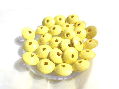 25 Perles en Bois Plates Jaune Tendre