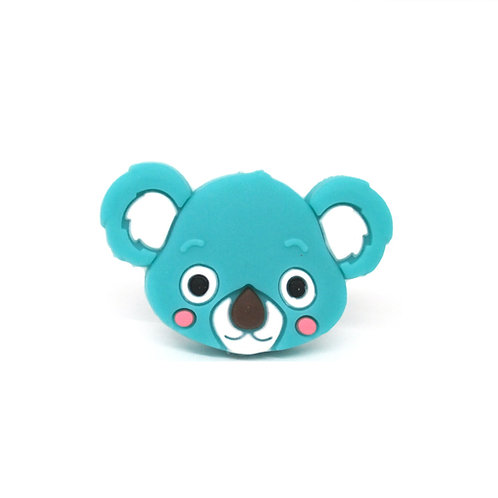 Perle Tête de Koala Silicone Turquoise